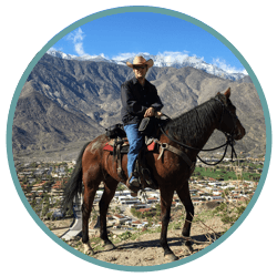 photo of young keratoconus patient, Duke on horseback